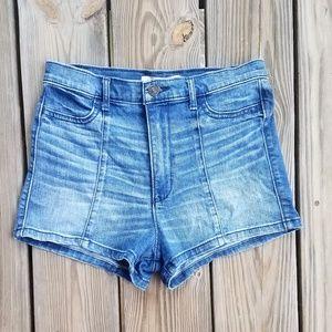 Abercrombie Ultra High Rise Pintuck Denim Shorts
